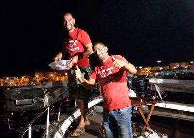 grigliate notturne in barca